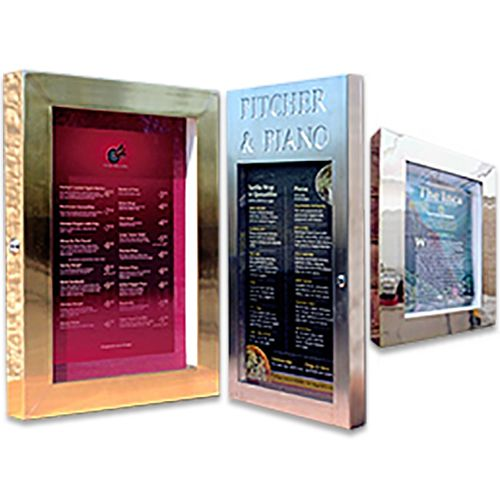 MENU CASES - LED Lit: Brass, Chrome, Copper, Black, Brushed Stainless Steel
