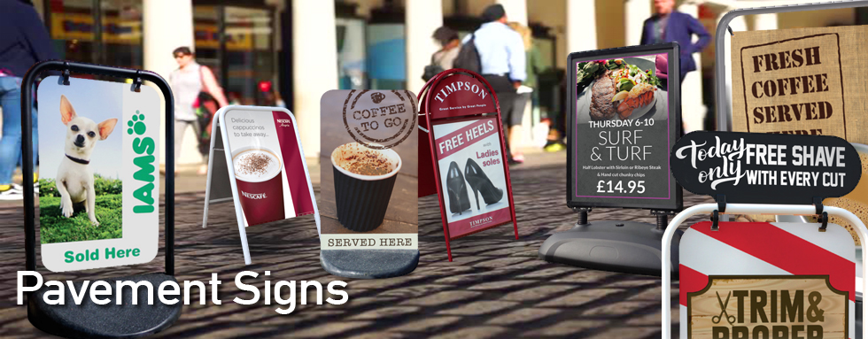 Pavement Signs and A-Boards. Swing Boards and Chalkboards.