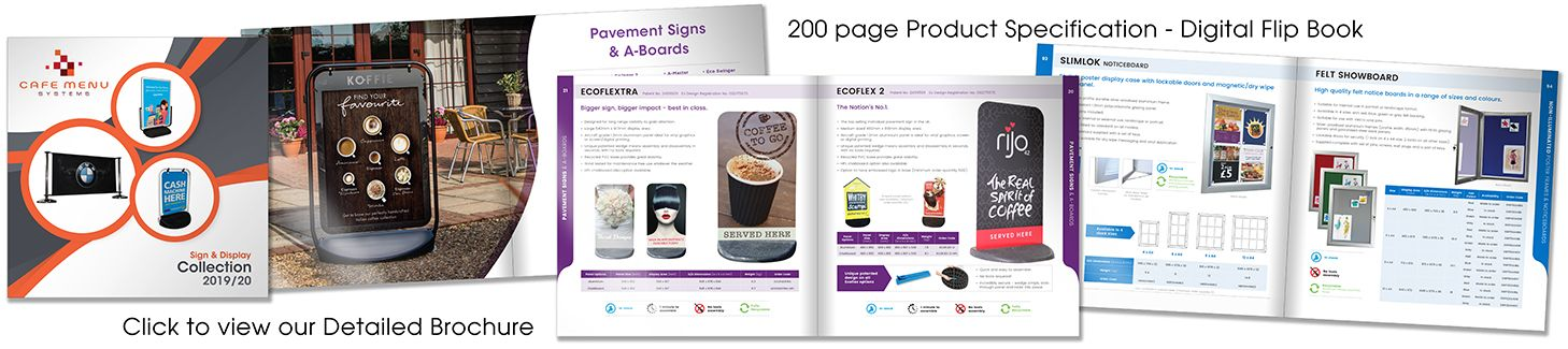 Sign & Signage Product Display Brochure with Specifications.
